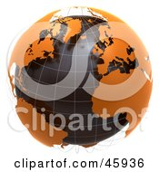 Royalty Free RF Clipart Illustration Of A 3d Globe With Floating Orange Continents And Black Oceans