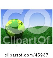 Royalty Free RF Clipart Illustration Of A Shiny 3d Green Globe Resting On A Grassy Hill Under A Blue Sky by chrisroll