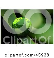 Royalty Free RF Clipart Illustration Of A Green Shiny 3d Globe Rolling Down A Blade Of Grass
