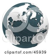 Royalty Free RF Clipart Illustration Of A 3d Grid Globe With Teal Waters And White Continents