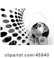 Royalty Free RF Clipart Illustration Of A 3d Globe With Blank Continents And Silver Oceans On A White And Black Dotted Halftone Background