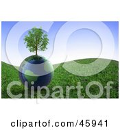 Healthy Tree Growing On Top Of A 3d Globe On A Grassy Hill Under A Blue Sky