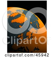 Royalty Free RF Clipart Illustration Of A 3d Globe With Orange Continents And Teal Oceans