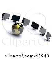 Royalty Free RF Clipart Illustration Of A 3d Gold And Black Globe Surrounded By Computer Monitors Symbolizing Networking And International Business