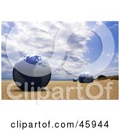 Royalty Free RF Clipart Illustration Of Three Blue Globes Resting In The Sand On A Beach by chrisroll