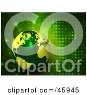 Royalty Free RF Clipart Illustration Of A 3d Green And Yellow Globe On A Futuristic Sparkling Background