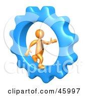 Royalty Free RF Clipart Illustration Of A 3d Orange Businessman Running In A Cog Wheel