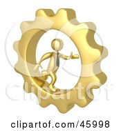 Royalty Free RF Clipart Illustration Of A 3d Gold Businessman Running In A Cog Wheel by 3poD