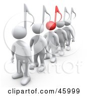 Royalty Free RF Clipart Illustration Of A Line Of White 3d People With Music Note Heads One With A Red Note