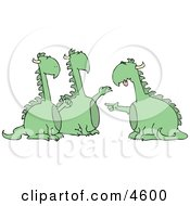 Anthropomorphic Dragon Accusing Two Dragons Of Doing Something Wrong Clipart by djart