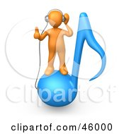 Royalty Free RF Clipart Illustration Of An Orange 3d Person Standing On A Blue Music Note And Wearing Headphones