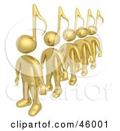 Royalty Free RF Clipart Illustration Of A Line Of Golden 3d People With Music Note Heads