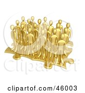 Royalty Free RF Clipart Illustration Of A Group Of 3d Gold Businessmen Associates Standing On Connected Puzzle Pieces