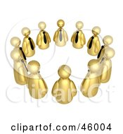 Royalty Free RF Clipart Illustration Of A Circle Of Golden Businessmen Avatars In A Support Group Or Meeting by 3poD