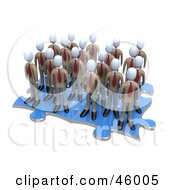 Group Of 3d White Businessmen Associates Standing On Connected Puzzle Pieces