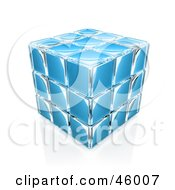 Royalty Free RF Clipart Illustration Of A Compacted Blue Glass Puzzle Cube by 3poD