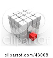 Royalty Free RF Clipart Illustration Of An Outcast Red Cube Floating Near A White Puzzle Cube by 3poD