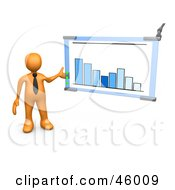 Royalty Free RF Clipart Illustration Of A 3d Orange Businessman Presenting A Bar Graph Chart During A Meeting