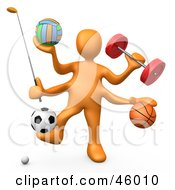 Royalty Free RF Clipart Illustration Of A 3d Orange Athlete Weight Lifting And Playing Golf Volleyball Basket Ball And Soccer by 3poD