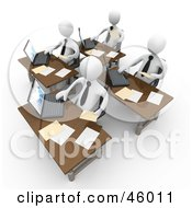 Royalty Free RF Clipart Illustration Of A Busy Team Of White People Compiling Financial Data