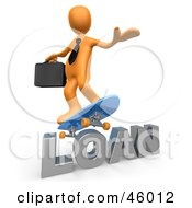 Royalty Free RF Clipart Illustration Of A 3d Orange Businessman Skateboarding On A Loan