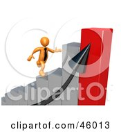 Royalty Free RF Clipart Illustration Of A 3d Orange Businessman Rushing To The Top Of A Bar Graph by 3poD
