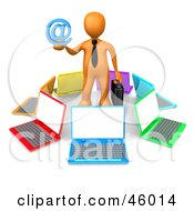 3d Orange Businessman Surrounded By Laptops And Holding Out An Email Symbol
