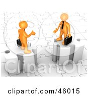 Poster, Art Print Of Two 3d Orange Businessmen On Puzzle Pieces Reaching Out To Shake Hands