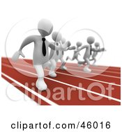 Royalty Free RF Clipart Illustration Of A Race Between White 3d Businessmen In Hunt For A Job by 3poD