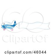Royalty Free RF Clipart Illustration Of A Cute Plane Flying A Blank Waving Banne