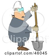 Construction Worker Guy Digging With A Shovel
