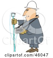 Royalty Free RF Clipart Illustration Of A Gas Worker Guy Carrying A Detector