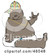 Royalty Free RF Clipart Illustration Of A Hip Hop Or Gangster Baby Wearing A Hat And Diaper And Gesturing