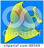 Royalty Free RF Clipart Illustration Of A Wary Yellow Saltwater Fish In The Blue Sea
