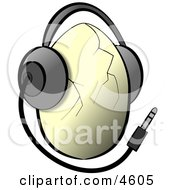 Egg Wearing Music Headphones Clipart by djart