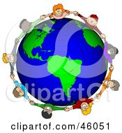 Royalty Free RF Clipart Illustration Of A Circle Of Worldwide Children Holding Hands Around A Globe by Dennis Cox