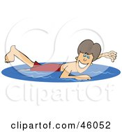 Royalty Free RF Clipart Illustration Of A Happy Boy Swimming On Summer Vacation