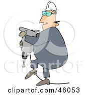 Royalty Free RF Clipart Illustration Of A Construction Worker Guy Carrying A Jackhammer