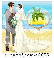 Romantic Newlywed Couple Gazing And Standing On A Tropical Beach