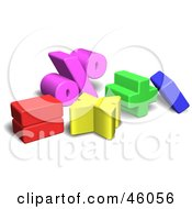 Royalty Free RF Clipart Illustration Of Colorful 3d Mathematics Symbols