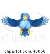 Royalty Free RF Clipart Illustration Of A Blue Bird Flying Forward by AtStockIllustration