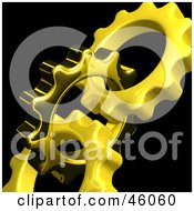 Royalty Free RF Clipart Illustration Of Golden Cogwheels Turning Together On Black