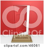 Royalty Free RF Clipart Illustration Of A Welcome Mat In Front Of An Open Red Door