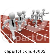 Royalty Free RF Clipart Illustration Of Racing White 3d Businessmen On A Track by 3poD