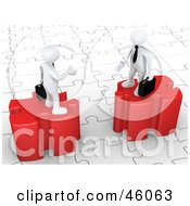 Royalty Free RF Clipart Illustration Of Two 3d White Businessmen On Puzzle Pieces Reaching Out To Shake Hands by 3poD