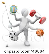 3d White Athlete Weight Lifting And Playing Golf Volleyball Basket Ball And Soccer