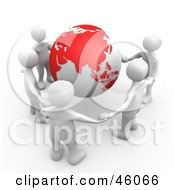 Royalty Free RF Clipart Illustration Of A Group Of Five White People Holding Hands Around A Globe With Asia Featured