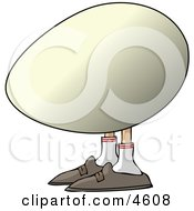 Concept Of An Egg With Human Legs And Feet Clipart
