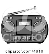 Old Potable Boombox Stereo System Clipart