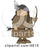 Female Native American Indian Holding A Bow An Arrow